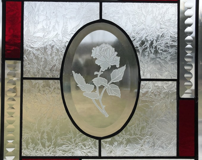 "10"" x 10"" Etched Rose Stained Glass Panel"