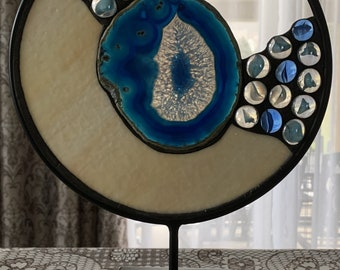 "Round Stained Glass Agate - ""The Beach"""