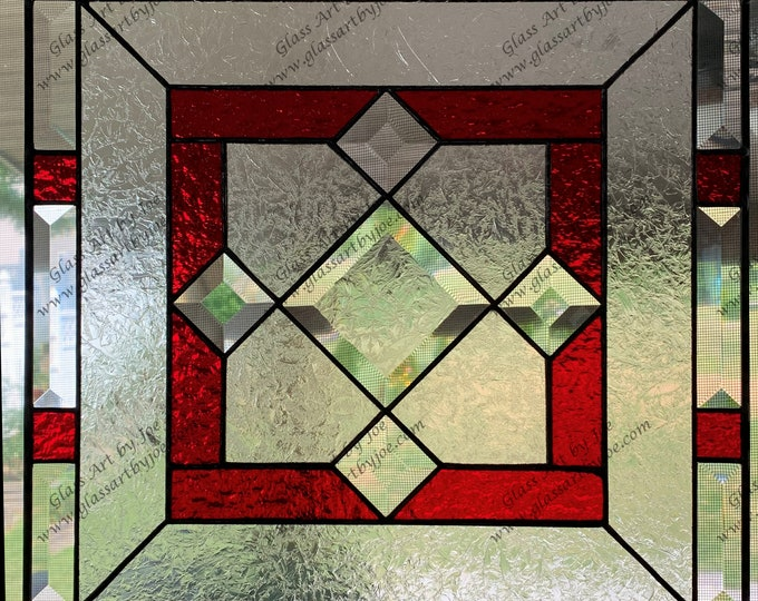 Stained Glass Panel, Bevel Glass, Red Glass, Textured Glass