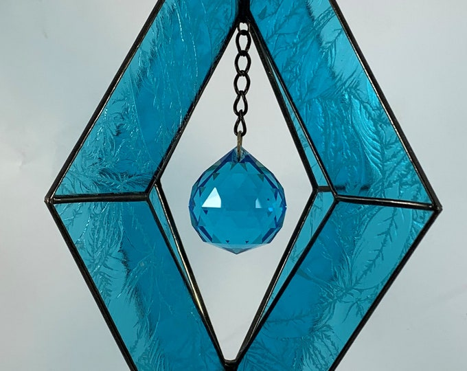 Stained Glass Spinner w/Turquoise Textured Glass and a Turquoise Glass Faceted Globe