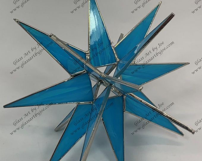 3D Hanging Stained Glass Moravian Star, Christmas Star Ornament, Light Blue Glass, 18 Point, Hanging Ornament, Stars, Gift, Wedding