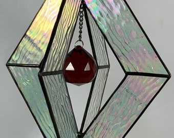Stained Glass Spinner w/Clear Iridescent Textured Glass and an Red Glass Faceted Globe