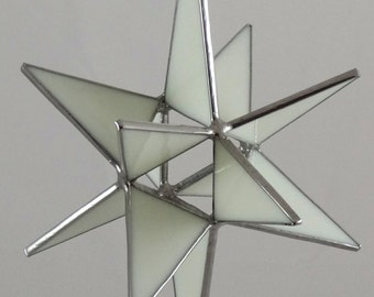 12 Point White Moravian Star - Glass Art by Joe Stained Glass Studio LLC