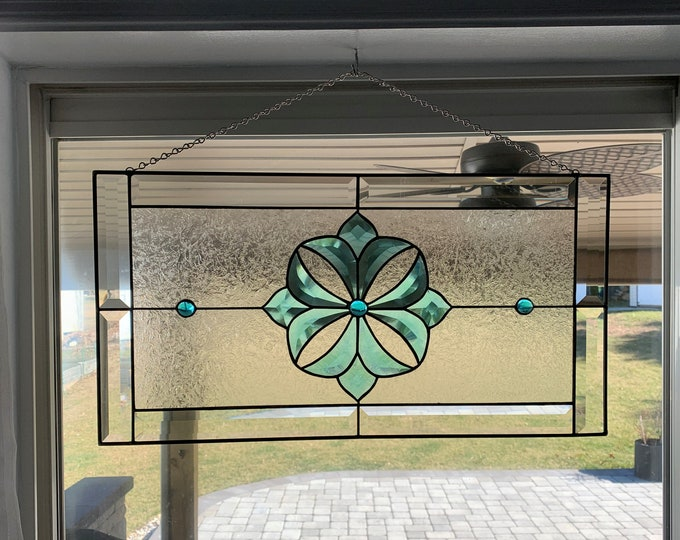"""12"""" x 23"""" Stained Glass Panel with Turquoise Bevel Flower"""