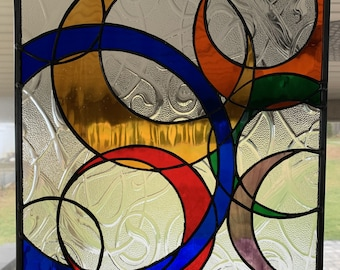 """12"""" x 12"""" Abstract Circles Stained Glass Panel"""