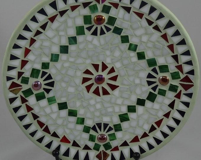 "Christmas Mosaic Bamboo Decorative Bowl - 12"" in diameter"