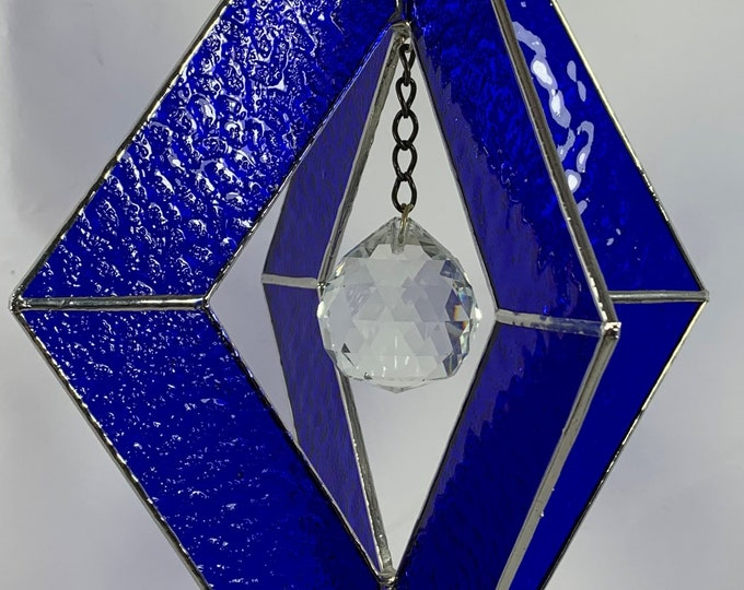 Stained Glass Spinner w/Cobalt BlueTextured Glass and an Clear Glass Faceted Globe
