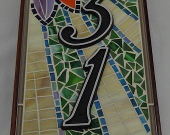 "Custom Mosaic House Sign - 8"" x 16"""