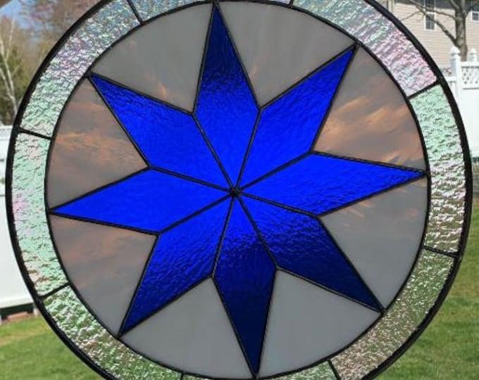 "Round Moravian Star Panel - Cobalt Blue, White & Iridescent Glass - 19"" in Diameter"