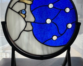 Man in the Moon Round Stained Glass Panel