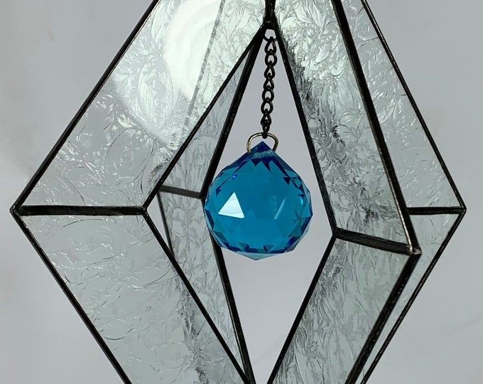 Stained Glass Spinner w/Clear Textured Glass and an Turquoise Glass Faceted Globe