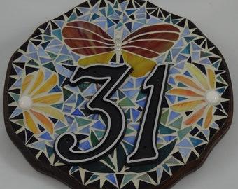"Round Custom Mosaic House Sign - 11"" in Diameter"