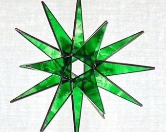 18 Point Green Moravian Star - Glass Art by Joe - Bethlehem