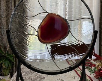 """14"""" Round Stained Glass Panel with Pinkish Agate / Stand Included"""