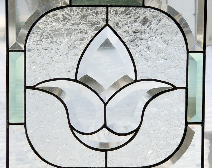 Stained Glass Panel with Bevel Flower and Bevel Border