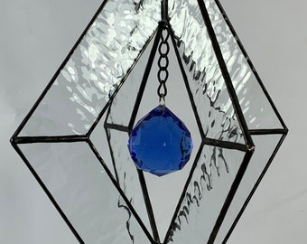 Stained Glass Spinner w/Clear Textured Glass and an Blue Glass Faceted Globe