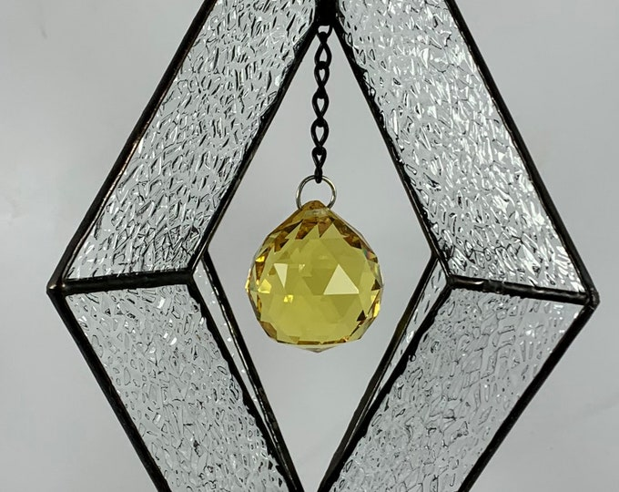 Stained Glass Spinner w/Clear Textured Glass and an Yellow Glass Faceted Globe