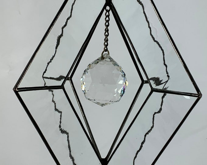 Stained Glass Spinner w/Clear Water Glass and an Clear Glass Faceted Globe