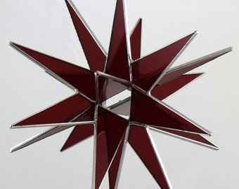 3D Stained Glass Moravian Star, Christmas Star Ornament, Red Glass, 18 Point, Hanging Ornament, Stars, Gift, Wedding