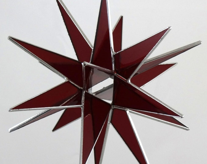 18 Point Red Moravian Star - Glass Art by Joe Stained Glass Studio LLC