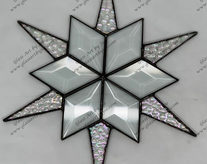 12 Point Flat Hanging Stained Glass Star, Christmas, Ornament, Clear Iridescent Texture Glass, Snowflake, Ornament, Stars, Gift, Wedding