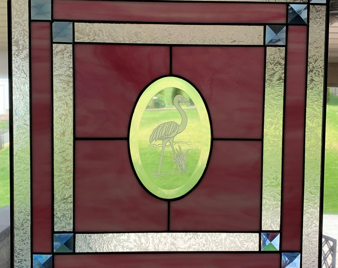 """15"""" x 15"""" Etched Flamingo Stained Glass Panel"""