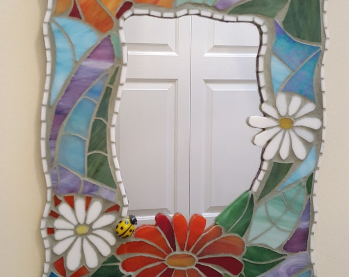 Mosiac Mirror with flowers and lady bug