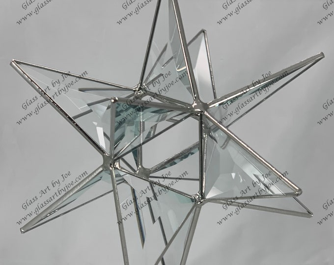 3D Hanging Stained Glass Moravian Star, Christmas Star, Ornament, Clear Bevel Glass, 12 Point, Stars, Gift, Wedding, Star