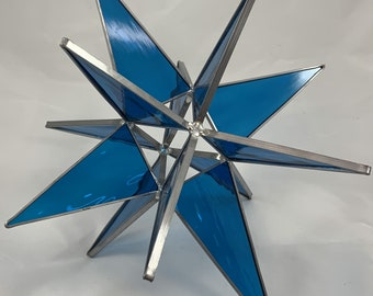 3D Stained Glass Moravian Star, Christmas Star Ornament, BlueGlass, 12 Point, Hanging Ornament, Stars, Gift, Wedding