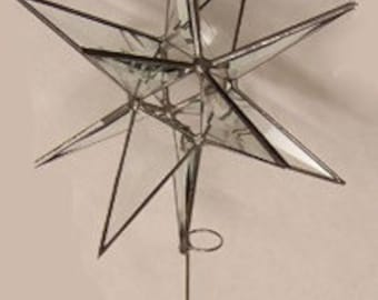 3D Stained Glass Moravian Star, Christmas Star, Clear Bevel Glass, 12 Point, Tree Topper, Stars, Gift, Ornament