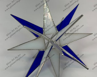 3D Hanging Stained Glass Moravian Star, Christmas Star Ornament, Blue and White Glass, 18 Point, Hanging Ornament, Stars, Gift, Wedding