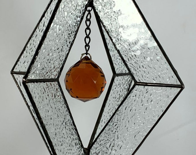Stained Glass Spinner w/Clear Textured Glass and an Amber Glass Faceted Globe