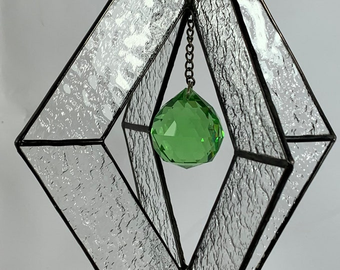 Stained Glass Spinner w/Clear Textured Glass and a Green Glass Faceted Globe