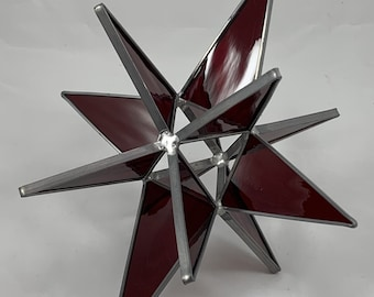 3D Stained Glass Moravian Star, Christmas Star Ornament, Red Glass, 12 Point, Hanging Ornament, Stars, Gift, Wedding