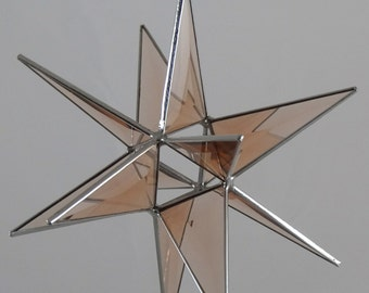 12 Point Peach Bevel Glass Hanging Moravian Star