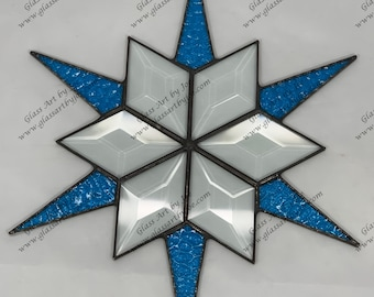 12 Point Flat Hanging Stained Glass Star, Christmas, Ornament, Blue Textured Glass, Snowflake, Ornament, Stars, Gift, Wedding