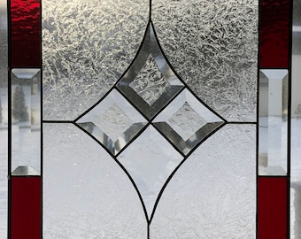 Stained Glass Panel with a Bevel Diamond in the Center