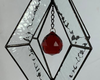 Stained Glass Spinner w/Clear Textured Glass and an Red Glass Faceted Globe