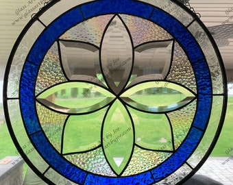 Stained Glass Panel, Flower, Bevel Glass, Cobalt Blue, Round, Iridescent Glass, Panel, Clear Glass,