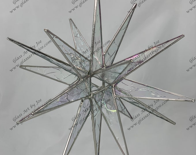 3D Hanging Stained Glass Moravian Star, Christmas Star, Ornament, Clear Iridescent Krinkle Glass, 18 Point, Stars, Gift, Wedding