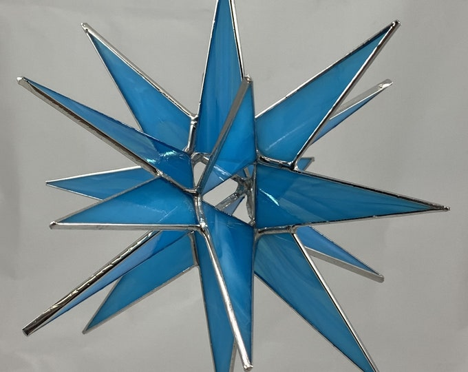 3D Hanging Stained Glass Moravian Star, Christmas Star Ornament, Blue Glass, 18 Point, Hanging Ornament, Stars, Gift, Wedding