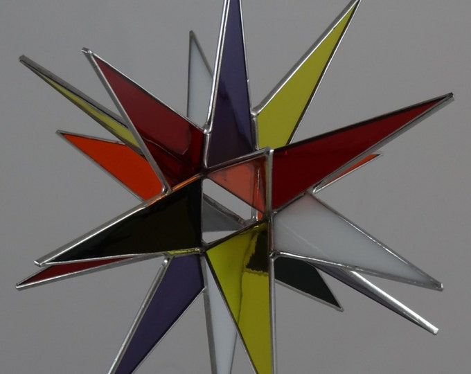 3D Hanging Stained Glass Moravian Star, Christmas Star Ornament, Multi Colored Glass, 18 Point, Ornament, Stars, Gift, Wedding