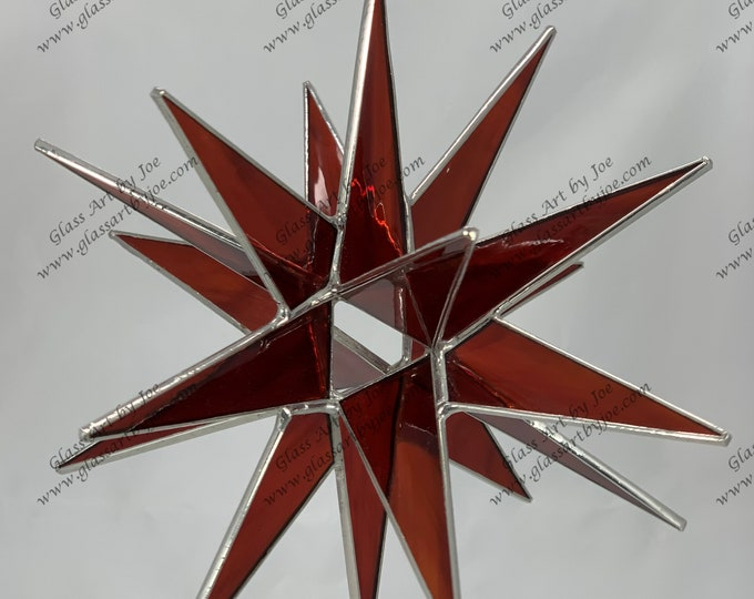 3D Hanging Stained Glass Moravian Star, Christmas Star Ornament, Redish Brown Glass, 18 Point, Hanging Ornament, Stars, Gift, Wedding