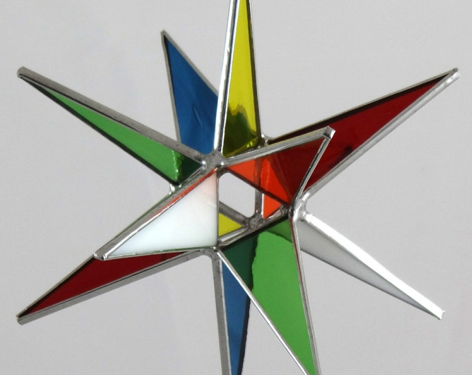 3D Stained Glass Moravian Star, Christmas Star Ornament, Multi-Color Glass, 12 Point, Hanging Ornament, Stars, Gift, Wedding