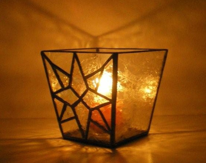Stained Glass Candle Holder, Square, Glue Chip Glass, Frosted, Candle Shelter, Clear Glass, Gift, Wedding, Moravian Star, Texture Glass