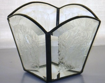 Stained Glass Candle Holder, Square, Glue Chip Glass, Frosted, Candle Shelter, Clear Glass, Gift, Wedding