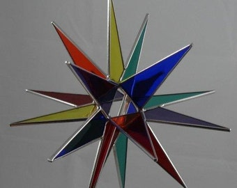 Tree Topper - 3D Stained Glass Moravian Star, Christmas Star Ornament, Multi Color Glass, 18 Point, Stars, Gift