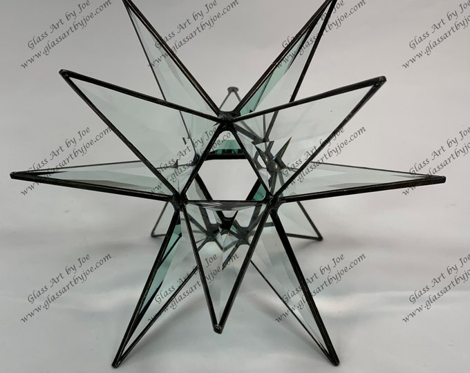Hanging 3D Stained Glass Moravian Star, Christmas Star Ornament, Clear Bevel Glass, 12 Point, Hanging Ornament, Stars, Gift, Wedding