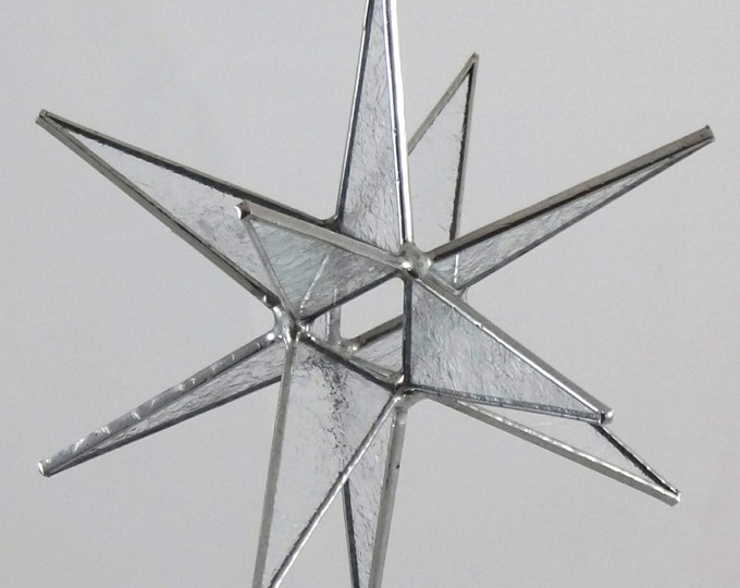 3D Stained Glass Moravian Star, Christmas Star Ornament, Clear Glue Chip Glass, 12 Point, Hanging Ornament, Stars, Gift, Wedding