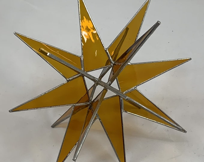 3D Hanging Stained Glass Moravian Star, Christmas Star Ornament, Yellow Glass, 18 Point, Hanging Ornament, Stars, Gift, Wedding